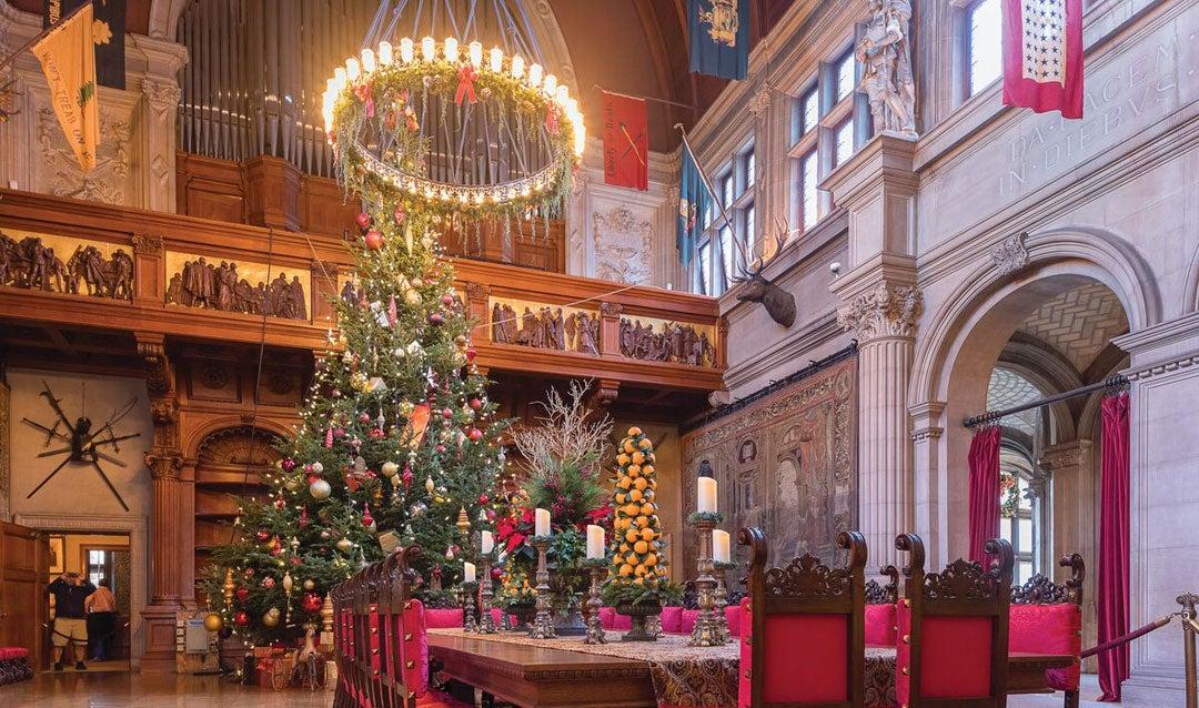 Orange tree centerpieces in the Banquet Hall